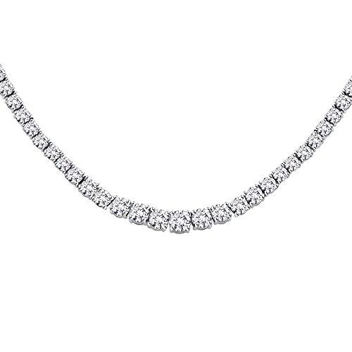 KATARINA 10 ct. Graduated Diamond Riviera Tennis Necklace in 18K White Gold (Color GH, Clarity I2-I3)