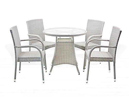 (5 Pc Patio Resin Outdoor Wicker Dining Set. Round Table w/Glass+4 Arm Chair. Gray Color )