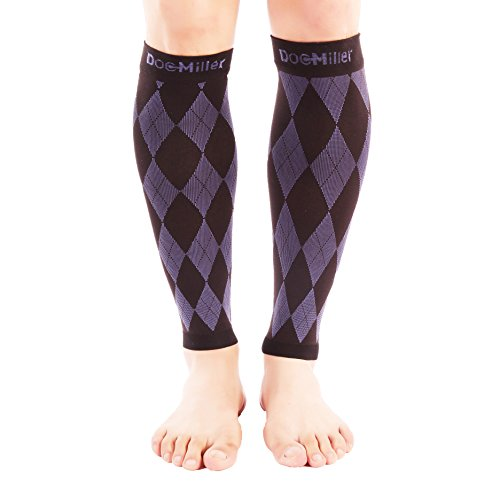 (Doc Miller Premium Calf Compression Sleeve 1 Pair 20-30mmHg Strong Calf Support Graduated Pressure for Sports Running Muscle Recovery Shin Splints Varicose Veins (Argyle Black.Purple, Large))