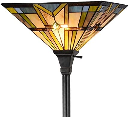 Tiffany Style 69 H Stained Glass Mission Torchiere Floor Lamp 1-Light with 14.2 Wide Shade for Living Room, Bedroom