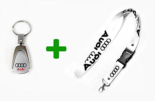 2 in 1 Bundle AUDI Key chain Teardrop Key Ring Engraved & WHITE Lanyard 22 (Leather Sunroof)