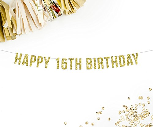 Happy 16th Birthday Gold Glitter Party Banner | 16th birthday decorations | sweet 16