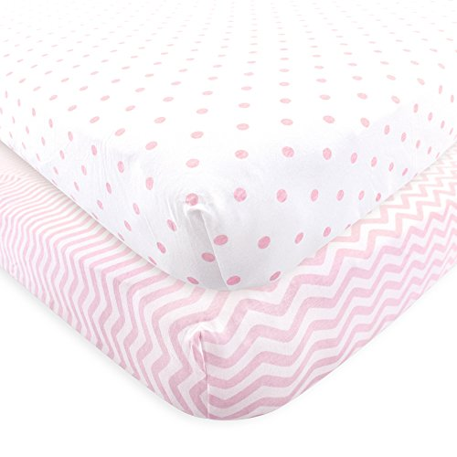Luvable Friends Fitted Knit Crib Sheet, Pink Chevron and Dot