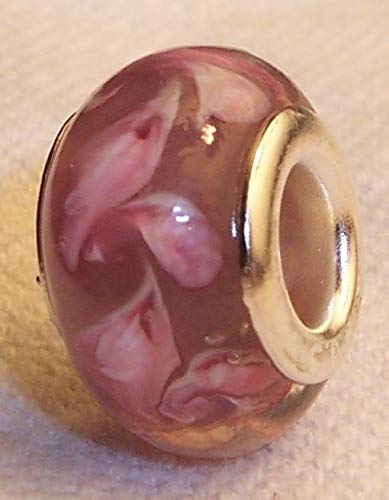 Pink Rose Swirl Pattern Murano Glass Bead fits Silver European Charm Bracelets ()
