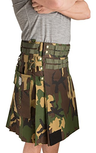 Damn Near Kilt 'Em Men's Tactical Utility Kilt Small Woodland Camo