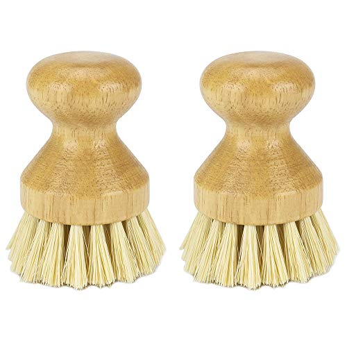 WISH Cleaning Scrub Brush for Cast Iron Skillet Pots Pans - Made of 100% Wood Handle and Coconut Bristles - Updated (2 Pack)