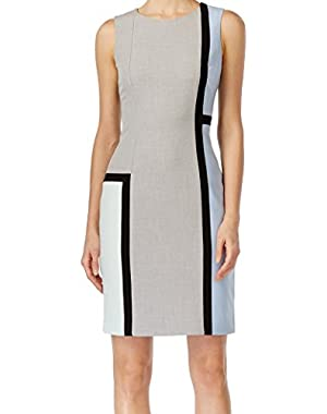Women's Petite Colorblock Sheath Dress Gray 12P!