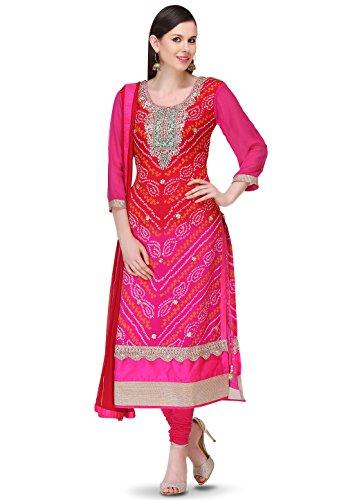 Utsav Fashion Bandhej Pure Chinon Crepe Straight Cut Suit in Red and Fuchsia Colour