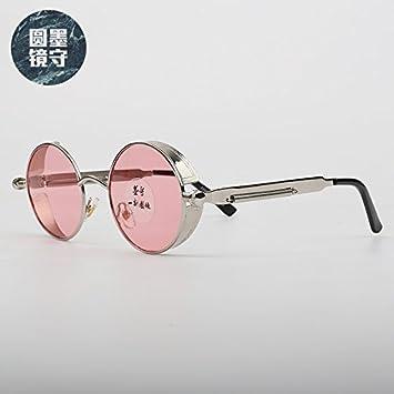 VVIIYJ Gafas de Sol Redondas Gafas para Mujer Punk Hip Hop ...