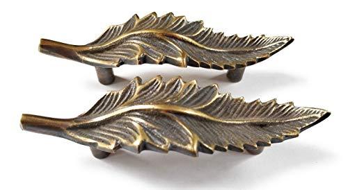 2 brass detailed Organic Leaf Shape cabinet drawer pull handles 4 1/8