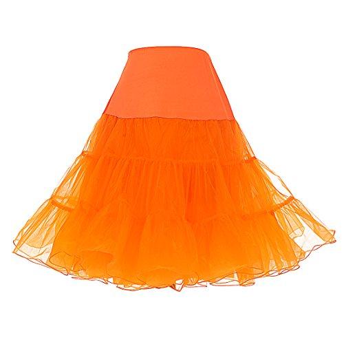 (DRESSTELLS Women's Vintage Rockabilly Petticoat Skirt Tutu 1950s Underskirt Orange)