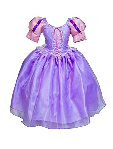 MylittlelizShop Disney Tangled Princess Dress Rapunzel Kids Costume (6, Multi) (Tangled Rapunzel Dress)