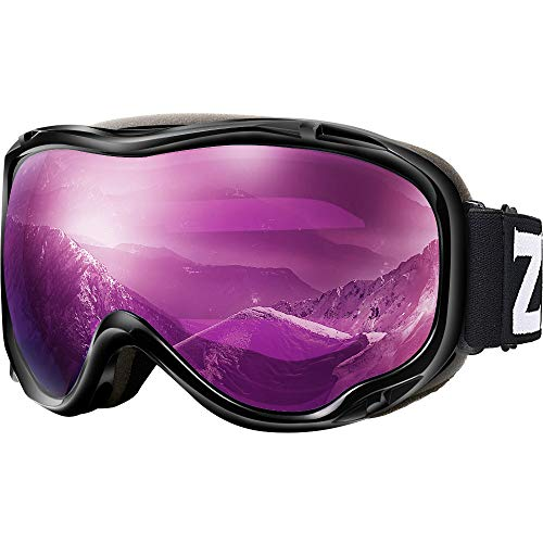 ZIONOR Lagopus Ski Snowboard Goggles UV Protection Anti Fog Snow Goggles for Men Women Youth VLT 16% Black Frame Purple Lens