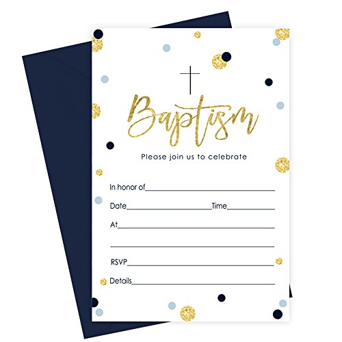 Boys Baptism Invitation Set of 15 Navy and