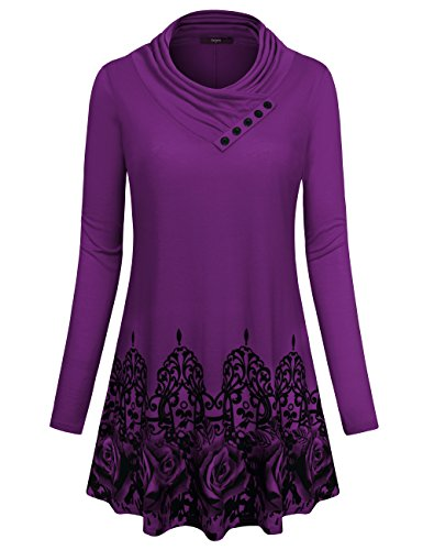 Cowl Drapey - Gaharu Long T Shirts for Women, Cowl Neck Blouses Long Sleeve Tunic Plus Size Soft Drapey Flattering Tops for Juniors (Large,Magenta)