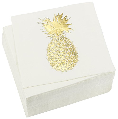 (50 Pack Decorative Dinner Napkins - Disposable Paper Party Napkins with Gold Foil Pineapple, Perfect for Anniversary Decorations, Birthday Party Supplies, 6.5 x 6.5 Inches Folded, Gold and)