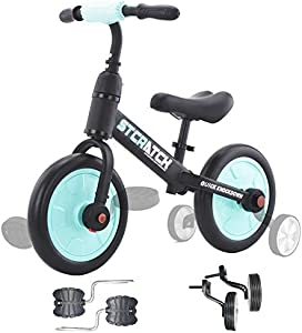 ZavoFly Balance Bike - 4 in 1 Kids Tricycle Toddler Bike Baby Trike, Ages 18 Months to 5 Years, 11 inch Wheel Size, Training Wheels & Pedals Easy Assembly & Disassembly (Blue)