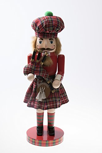 "Scottish Wooden Collectible Nutcracker by Clever Creations | Wearing Scottish Kilt, Red Coat, and Plaid Hat with Bagpipes | Festive Decor | Perfect for Shelves and Tables | 100% Wood | 14"" Tall"