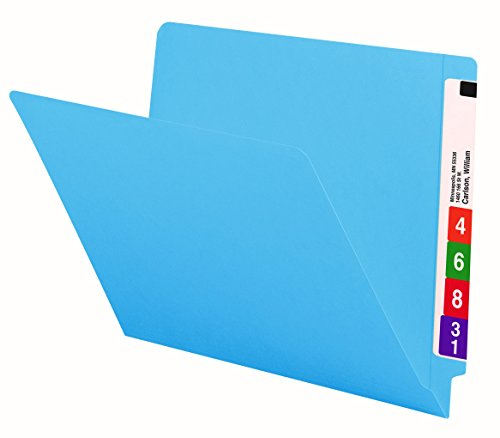 Smead End Tab File Folder, Shelf-Master Reinforced Straight-Cut Tab, Letter Size, Blue, 100 per Box (25010) (End File Tab)