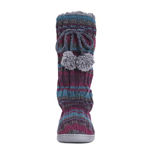 Muk Luks Women's Gloria Tall Slippers, Purple, Large M Us