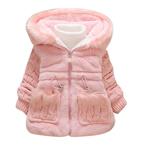Elegant Flush Winter Coat For Toddler Baby Boy Girl Long Sleeves Solid Color Zipper Jacket Outwear Tops (Age:3-4 Years, Pink)