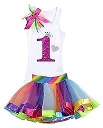 Bubblegum Divas Baby Girls\' 1st Birthday Princess Shirt Rainbow Tutu 12 Months