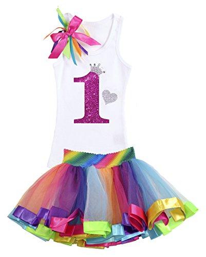 Bubblegum Divas Baby Girls 1st Birthday Rainbow Tutu Outfit