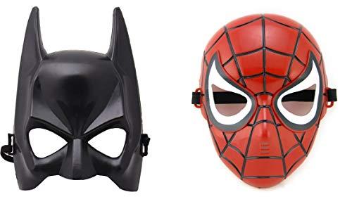 Batman Mask Kids (2 Pcs Superhero Spiderman + Batman Mask for boy Girl Kids Adults Party Birthday Halloween Red)