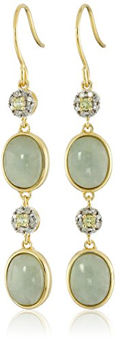 18k Yellow Gold over Sterling Silver Green Jade Peridot and Diamond Drop Earrings (1/10cttw, I-J Color, I2-I3 Clarity) (Color Jade Earring)