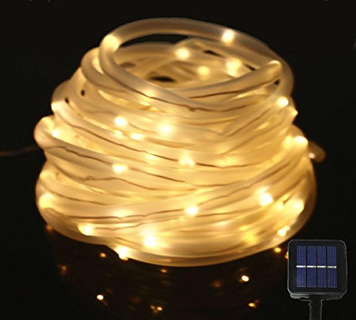 JulyFire 33 ft 100LED Solar Outdoor Christmas Rope Lights, Waterproof Upgraded 1500mRh Battery, For Halloween Party Pool Roof Deck Festival Garden Wedding (Warm White)