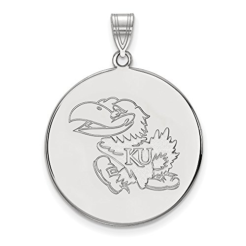 10k White Gold LogoArt Official Licensed Collegiate University of Kansas (KU) XL Disc Pendant by Logo Art