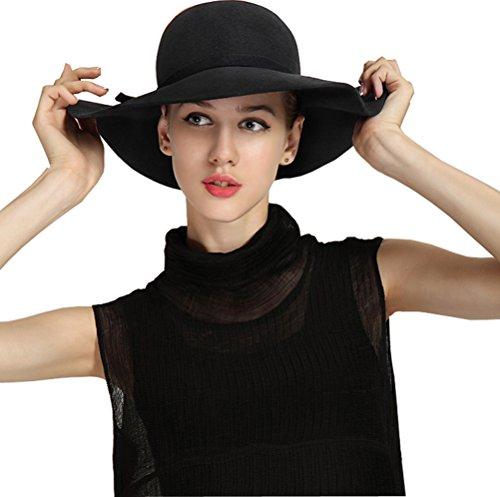 Bienvenu Women's Wide Brim Wool Ribbon Band Floppy Hat Black (Ribbon Sun Hat)