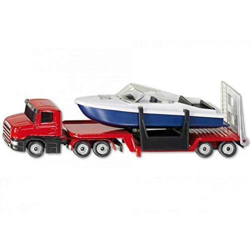 (FidgetGear 1/64 Scale Diecast Truck Low Loader with Boat 1613 Vehicles Model Toy )