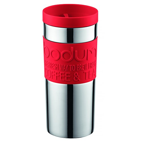 Bodum Travel Mug, Vacuum, Stainless Steel - 0.35 L, Red Bodum Stainless Steel Travel Mug