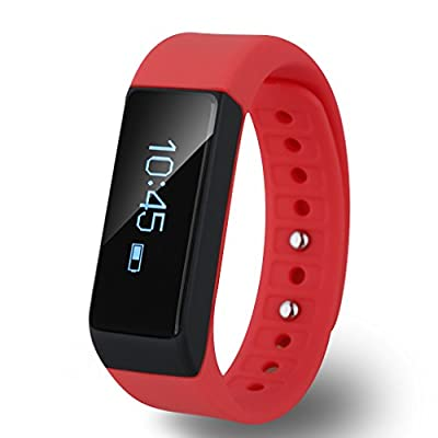Diggro i5 Plus Bluetooth Smart Bracelet Watch Wristband Sports Fitness Tracker Pedometer Step Counter Tracking Calorie Health Sleep Monitor for Android iOS, Red
