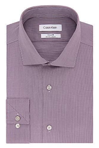 Calvin Klein Men's Dress Shirt Slim Fit Non Iron Stretch Solid, Eggplant, 14.5