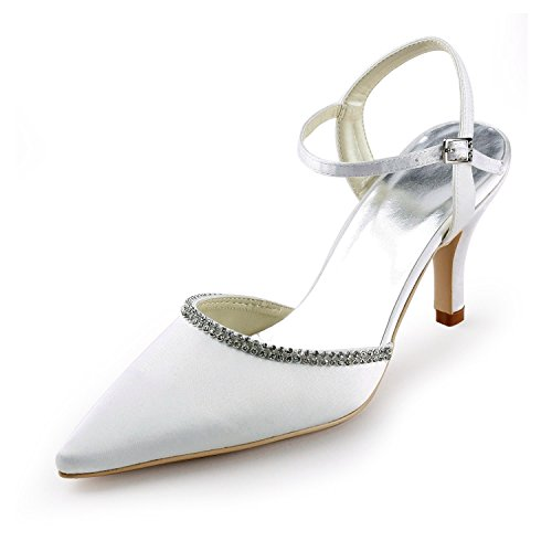 Shoes Wedding Bridal Slingback 7cm Party Formal Pumps Evening Satin TMZ347 Heel Minitoo Women's Ivory RwqcIXZv