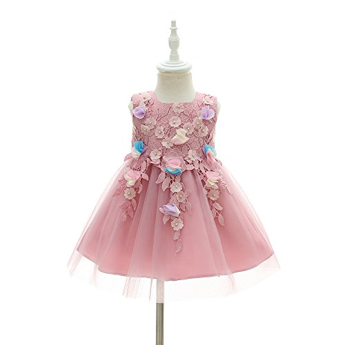 [Girls' Princess Costume Halloween Fancy Dresses 3D Lace Tulle Flower Baby Dress For Christmas (12M, Purple)] (Christmas Fancy Dress Baby)
