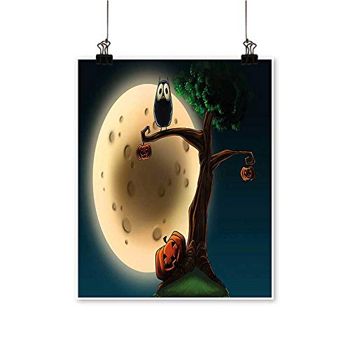 Modern Painting Cute Cartoon of Spooky Halloween Tree with Large Eyed Owl and Pumpkin Bedroom Office Wall Art Home,24