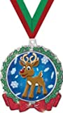 HOLIDAY MEDALS - 2.75'' Glitter Wreath Reindeer Medal 50 Pack