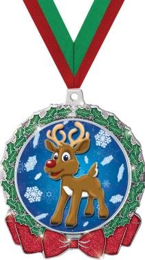 HOLIDAY MEDALS - 2.75'' Glitter Wreath Reindeer Medal 50 Pack by Crown Awards