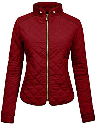 (Ne People Womens Lightweight Quilted Zip Jacket, BURGUNDY, 3X - Large)