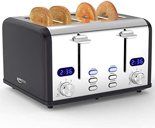 Keenstone Toaster 4 Slice, Stainless Steel Toasters with Timer, Wide Slot, Bagel/Defrost/Cancel Fuction, Removable Crumb Tray, Black