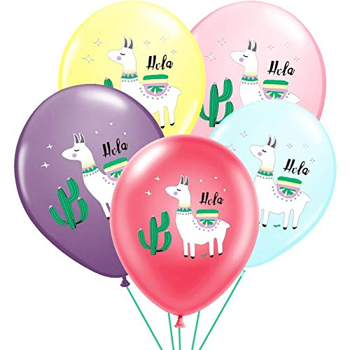 Besttt-Seller 12 inch Llama Balloons for Llama party supplies Llama Latex Balloons -(blue, yellow, pink,red and purple,)10 pcs