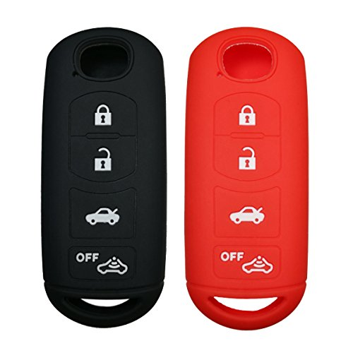 2Pcs Coolbestda Rubber 4buttons Key Fob Protector Case Keyless Entry Holder Cover Skin Jacket for Mazda 3 6 CX-5 CX-7 CX-9 MX-5 Miata Toyota Yaris Black Red