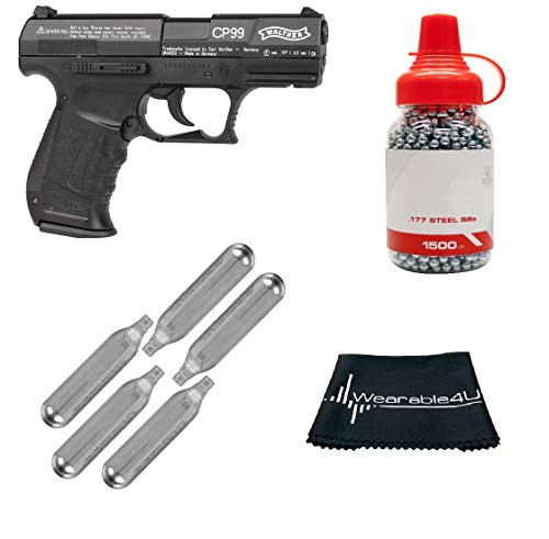 (Walther CP99 Compact Air BB Pistol with Included CO2 12 Gram (5 Pack) and Pack of 1500 Precision Steel BBS and Wearable4U Cloth)