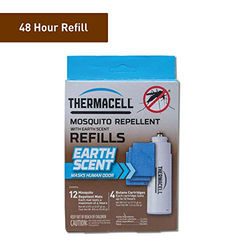 (Thermacell Earth Scent Mosquito Repellent Refills; Contains 12 Scented Repellent Mats and 4 Fuel Cartridges; Delivers 48 Total Hours of Protection; For Use with Thermacell Fuel Mosquito Repellers)