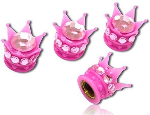 (4 Count) Custom Tire Wheel Rim Valve Stem Dust Cap Cover Seal w/ Easy Grip Texture, Made of Hardened Rubber w/ Bright Girly Feminine Bold Bling Diamond Rhinestone Princess Crown {Pink} + Certificate