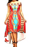 Oberora-Women Slim Shoulder Off Irregular Africa Print Swing Party Dress As Picture XS