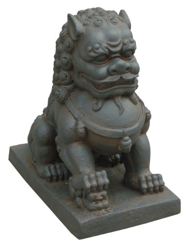Hi-Line Gift Ltd Foo Dog-Right Paw on Cub Statues, Clay Fibre Brown